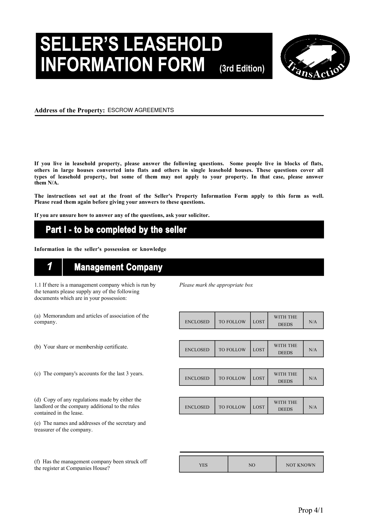 Sellers Leasehold Information Form (SLIF)